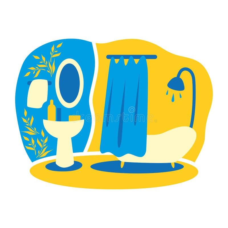 Wektorowy rysunek domowi wnętrza do łazienki Pokój i wygoda ilustracja wektor