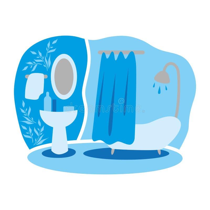 Wektorowy rysunek domowi wnętrza do łazienki Pokój i wygoda royalty ilustracja