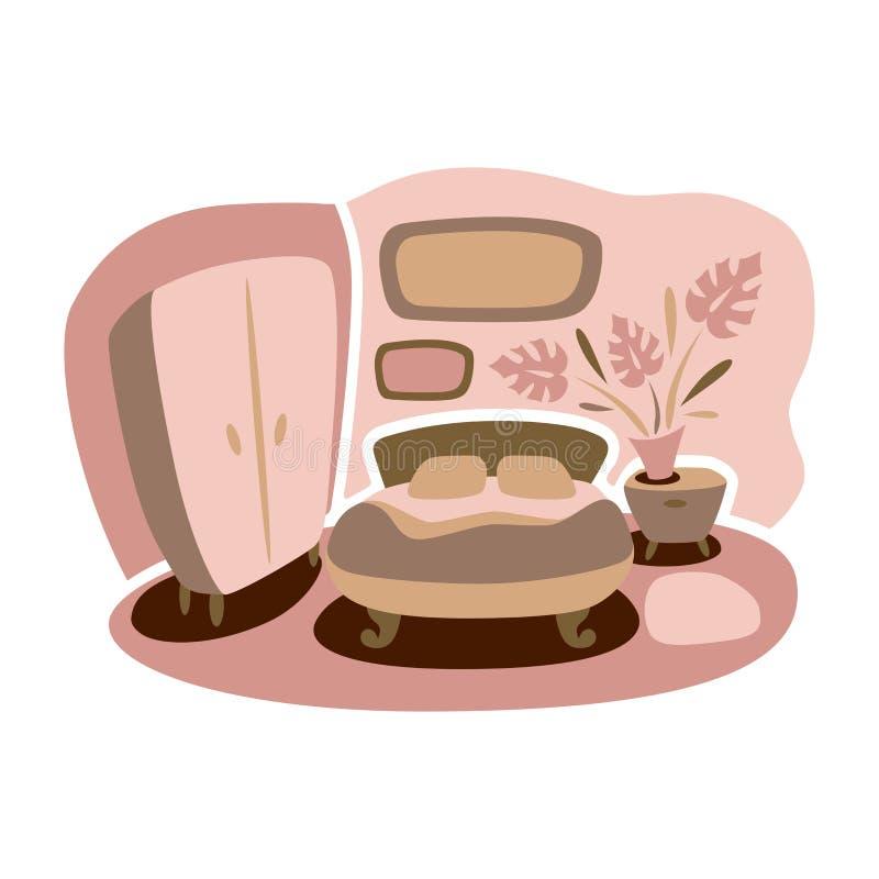 Wektorowy rysunek domowi wnętrza sypialnia Pokój i wygoda ilustracji