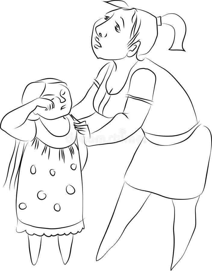 Wektorowy rysunek dziewczyna i kobieta ilustracja wektor