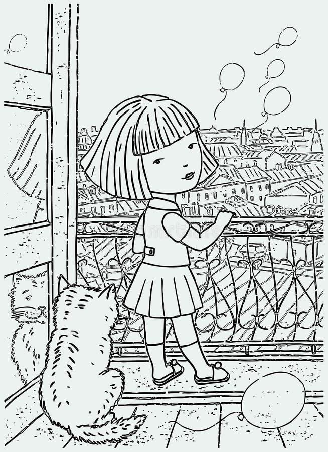 Wektorowy rysunek dziewczyna wszczyna balony od jej balkonu troszkę ilustracji
