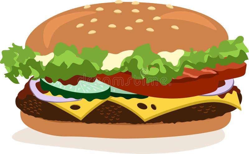 Wektorowy rysunek hamburger z serem, pomidory, kotlecik, sałata, cebula, ogórek ilustracji