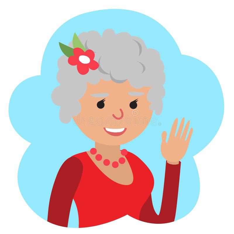 Wektorowy rysunek ikony starsza kobieta w chmurze, falowanie jego ręka ilustracja wektor