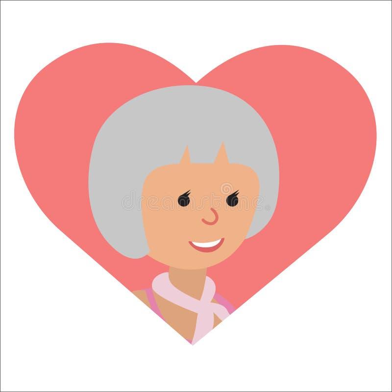 Wektorowy rysunek ikony starsza kobieta w sercu royalty ilustracja