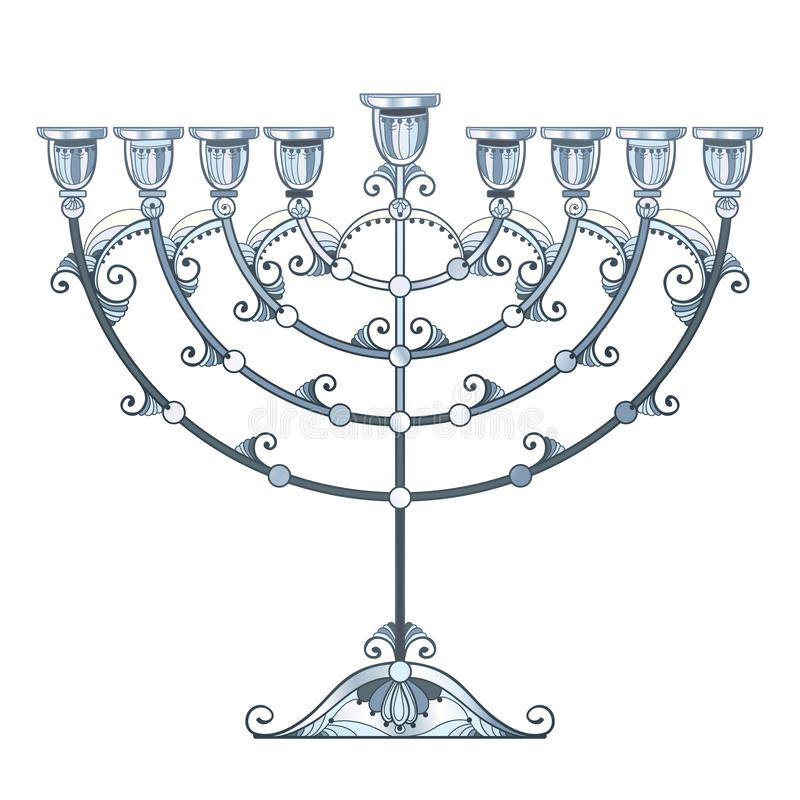 Wektorowy rysunek konturu Hanukkah menorah lub Chanukiah kandelabr w pastelu srebrze barwił odosobnionego na białym tle ilustracji