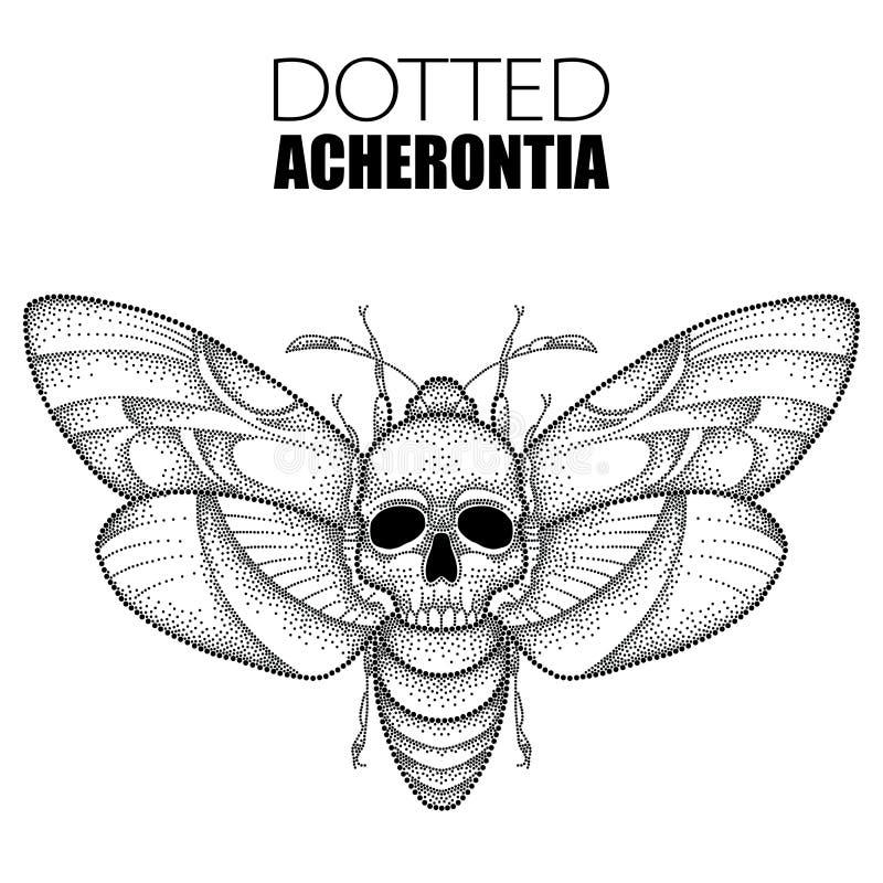 Wektorowy rysunek kropkowany czarnej śmierci ` s głowy jastrzębia ćma lub Acherontia atropos odizolowywający na białym tle ilustracja wektor