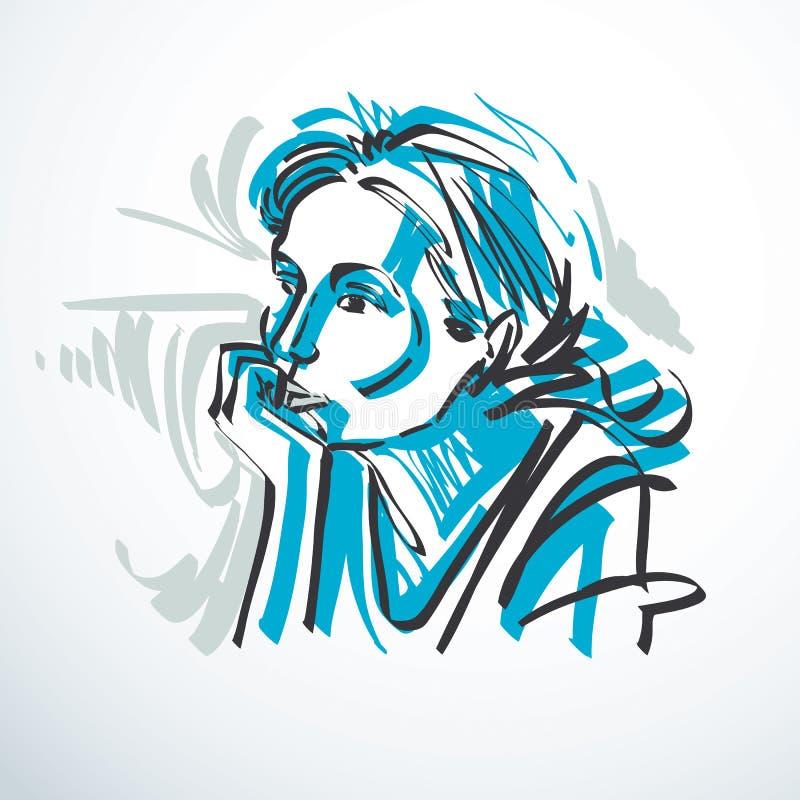 Wektorowy rysunek piękna czuła kobieta, portret w minimalnym st royalty ilustracja