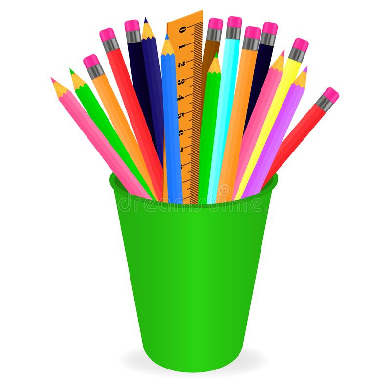 Wektorowy rysunek set barwiący ołówki w organizatorze na białym tle royalty ilustracja