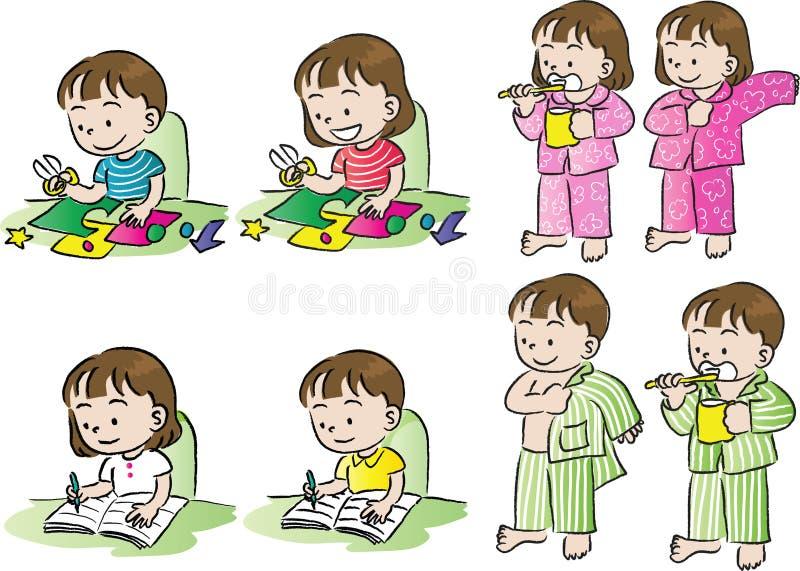 Wektorowy rysunkowy children życia set ilustracja wektor