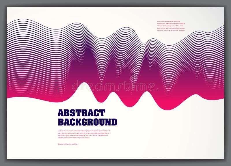 Wektorowy rzadkopłynnego przepływu falisty abstrakcjonistyczny tło 3d kolorowy gradient ilustracji