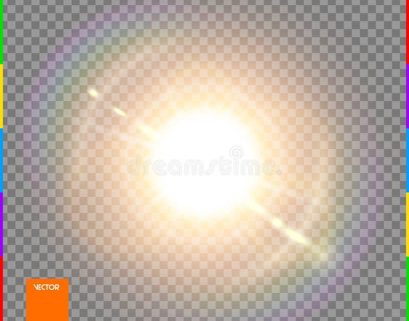 Wektorowy słońce Jarzeniowego przejrzystego światło słoneczne obiektywu specjalnego racy lekki skutek Odosobneni błyskowi promien royalty ilustracja