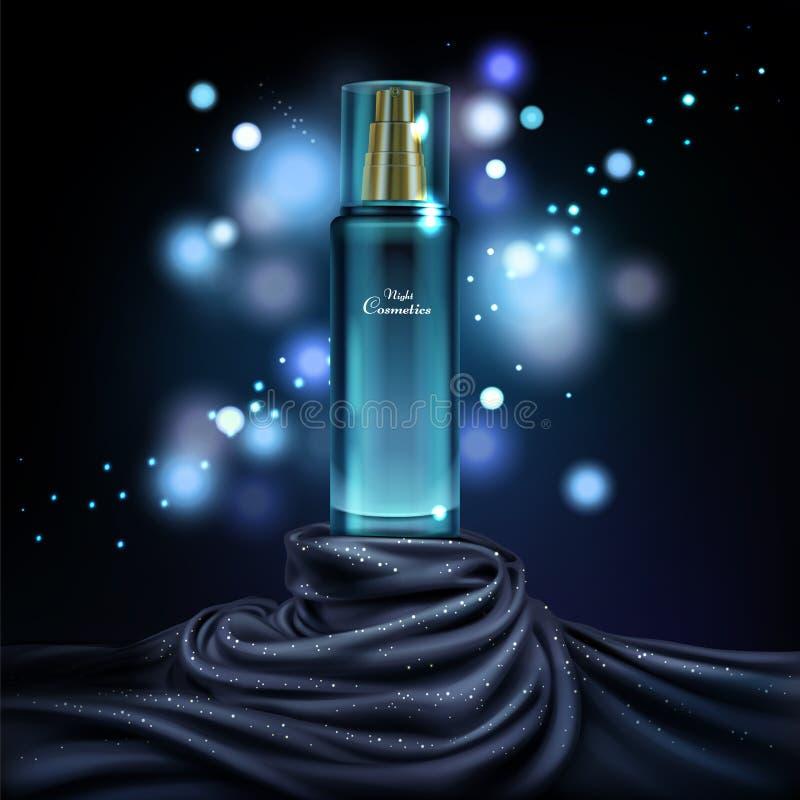 Wektorowy słój z noc kosmetykami, reklamowy tło ilustracji