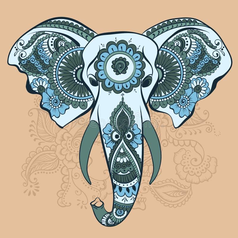 Wektorowy słoń na henna Indiańskim ornamencie royalty ilustracja