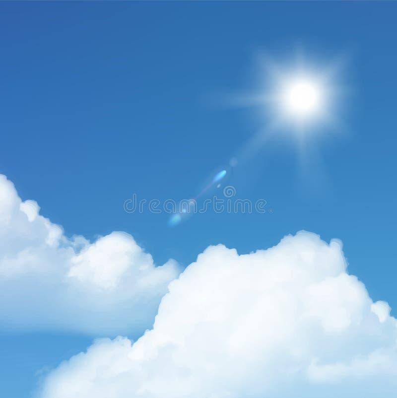 Wektorowy słońce i chmura. ilustracji
