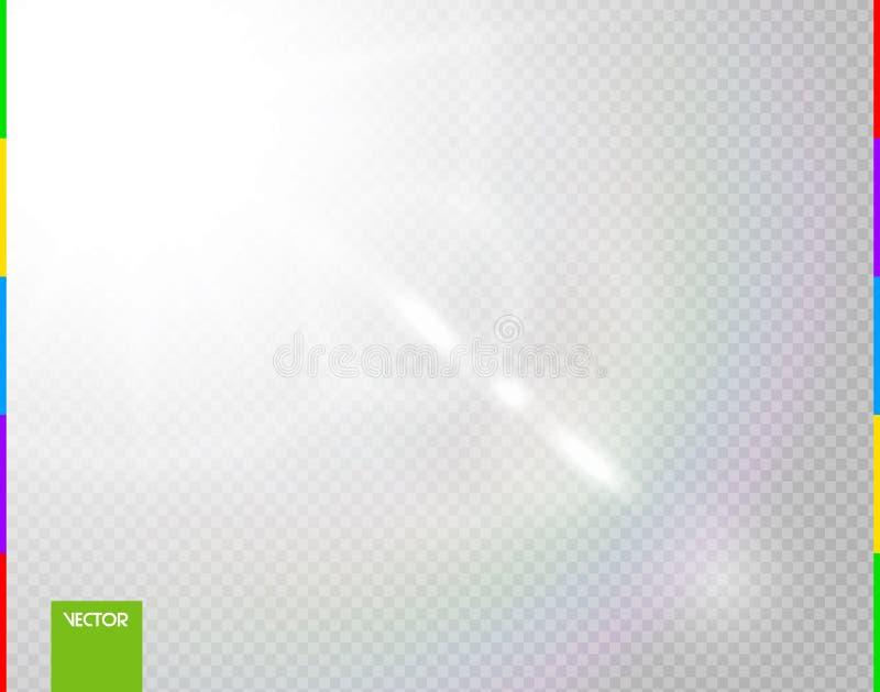 Wektorowy słońce lekkich promieni specjalny skutek Jarzeniowy przejrzysty światło słoneczne obiektywu raca Odosobniony błyskowy ś royalty ilustracja