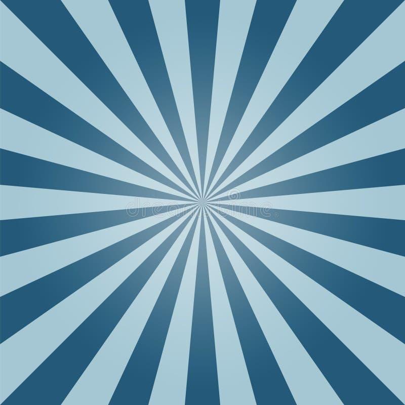 Wektorowy słońce wybuchu tło, niebieskie niebo ilustracja wektor