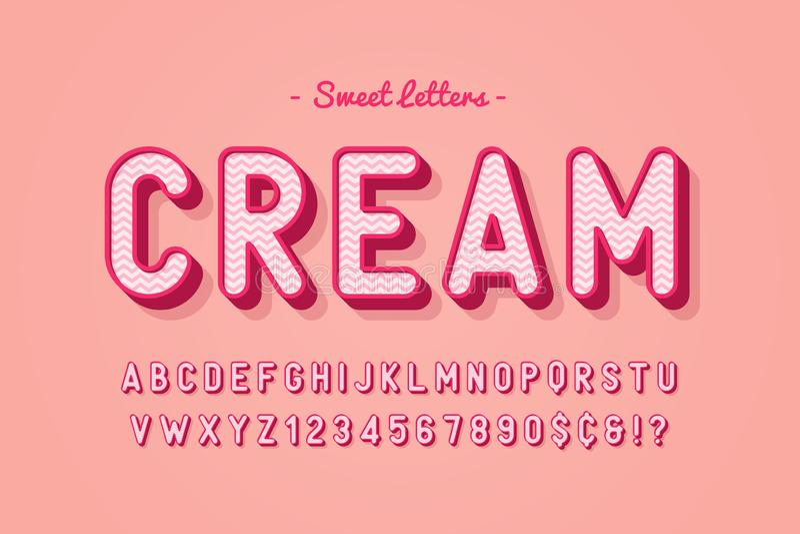 Wektorowy słodki cukierek chrzcielnicy projekt, abecadło, typeface, listy i ilustracja wektor
