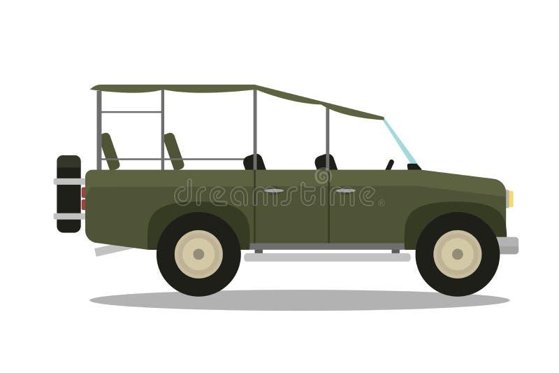 Wektorowy safari podróży kompas, karabin, lornetki i dżipa samochód, royalty ilustracja