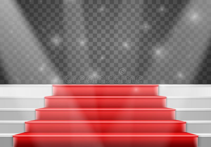 Wektorowy schodka szablon 3D zwycięzcy sceny Realistyczni Wektorowi schodki royalty ilustracja