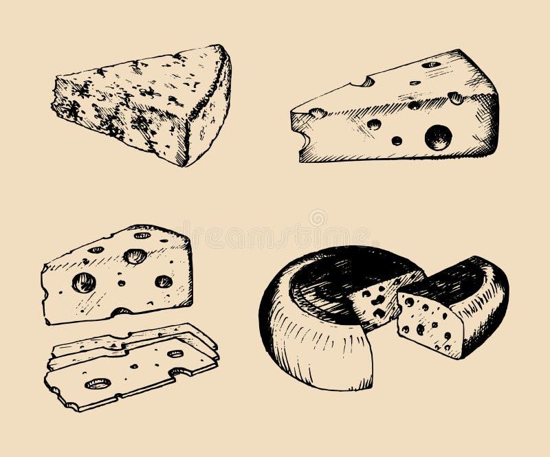 Wektorowy sera set Rocznika ręka rysujący parmesan, cheddaru etc ilustracje na czarnym tle, Nabiałów nakreślenia royalty ilustracja