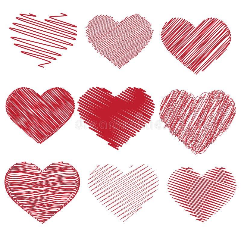 Wektorowy serce gryzmolący ilustracja wektor