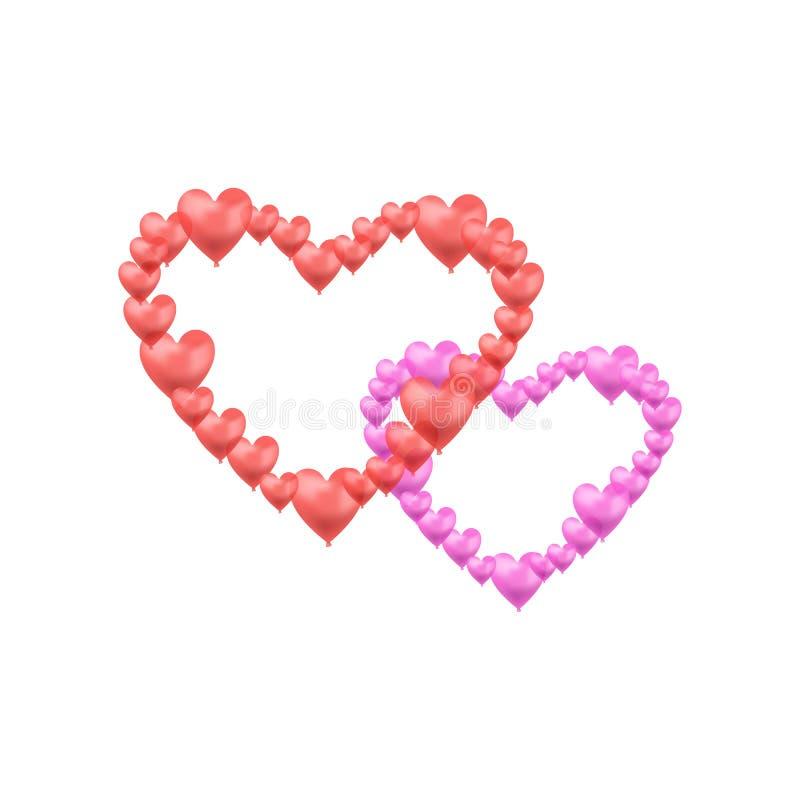 Wektorowy serce Kształtujący Ballons, rewolucjonistka i menchia Krzyżujący miłość symbole Odizolowywający, Świąteczni ślubu proje ilustracji