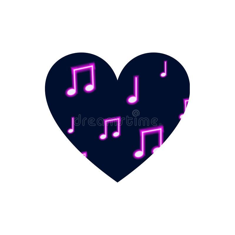 Wektorowy serce Odizolowywający na Białym tle, Neonowy Muzykalnych notatek wzór, Muzyczny ikona szablon ilustracji
