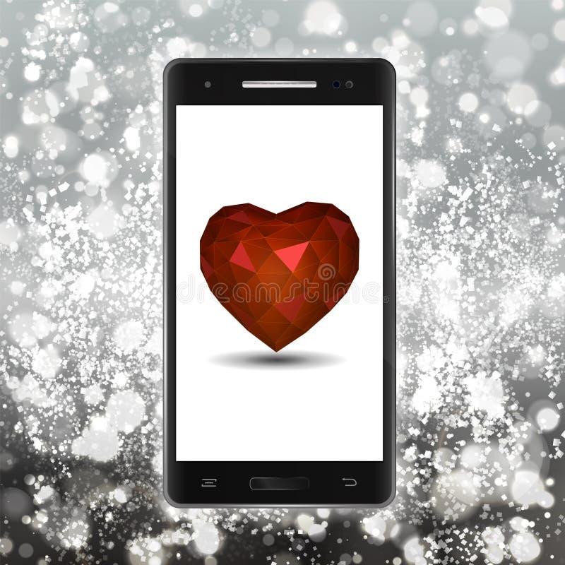 Wektorowy serce w telefonie komórkowym dla valentines dnia Nowożytny czerń sm ilustracji