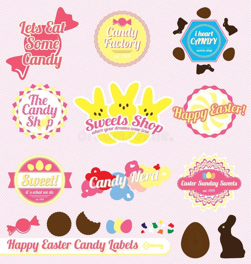 Wektorowy Set: Cukierek retro Wielkanocne Etykietki royalty ilustracja