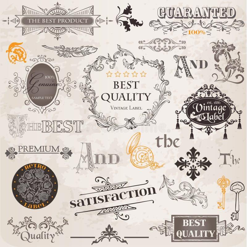 Wektorowy Set: Projektów kaligraficzni Elementy royalty ilustracja