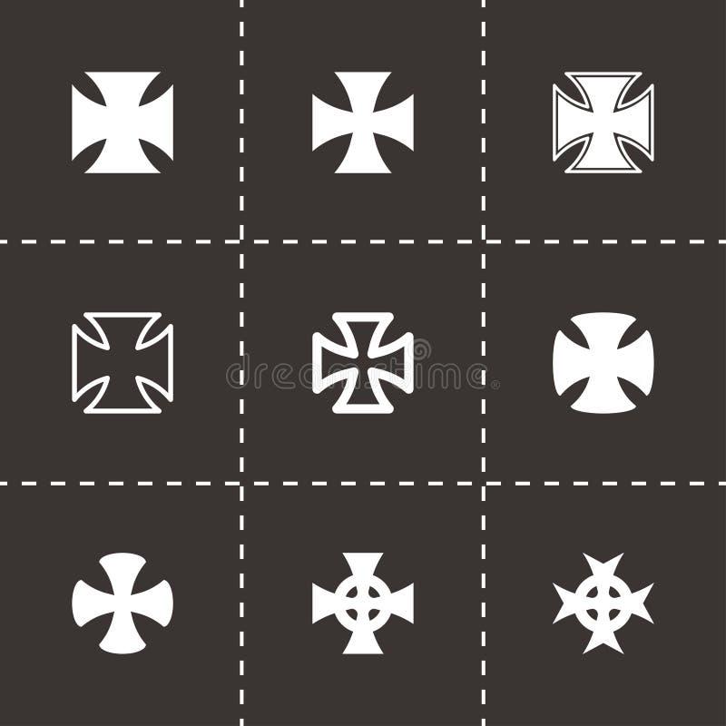 Wektorowy siekaczy krzyży ikony set ilustracja wektor