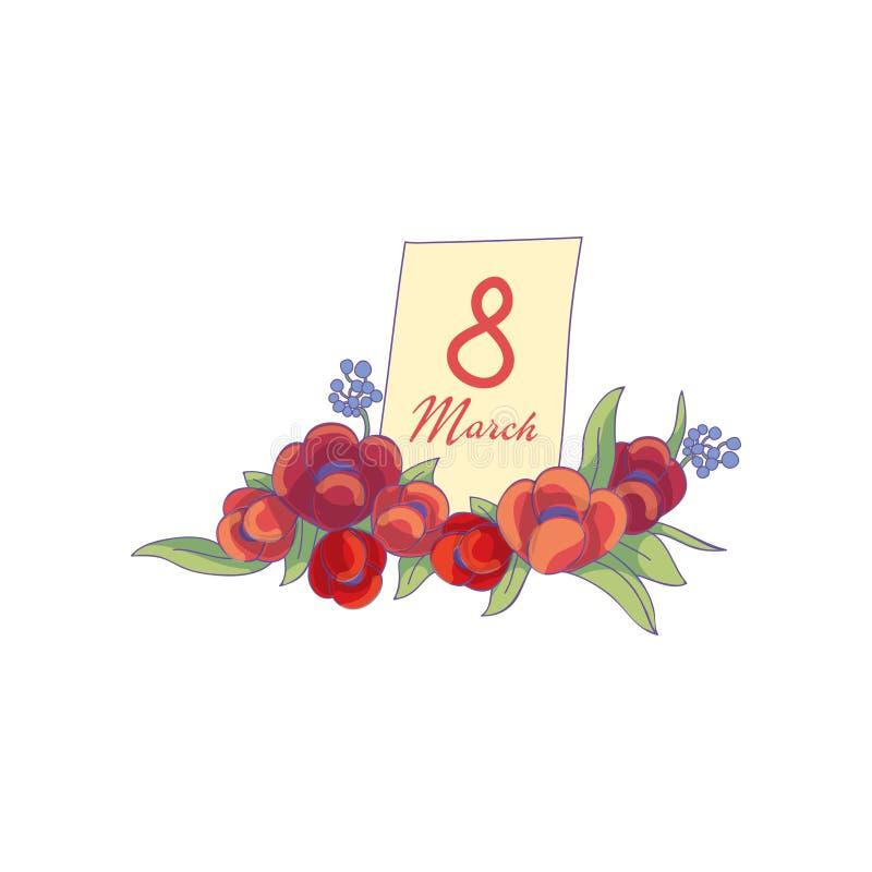 Wektorowy skład z tulipanem kwitnie i 8 Marcowa pocztówka wesołych świąt grodowa cesky dziedzictwa krumlov sezonu wiosna przegląd ilustracji