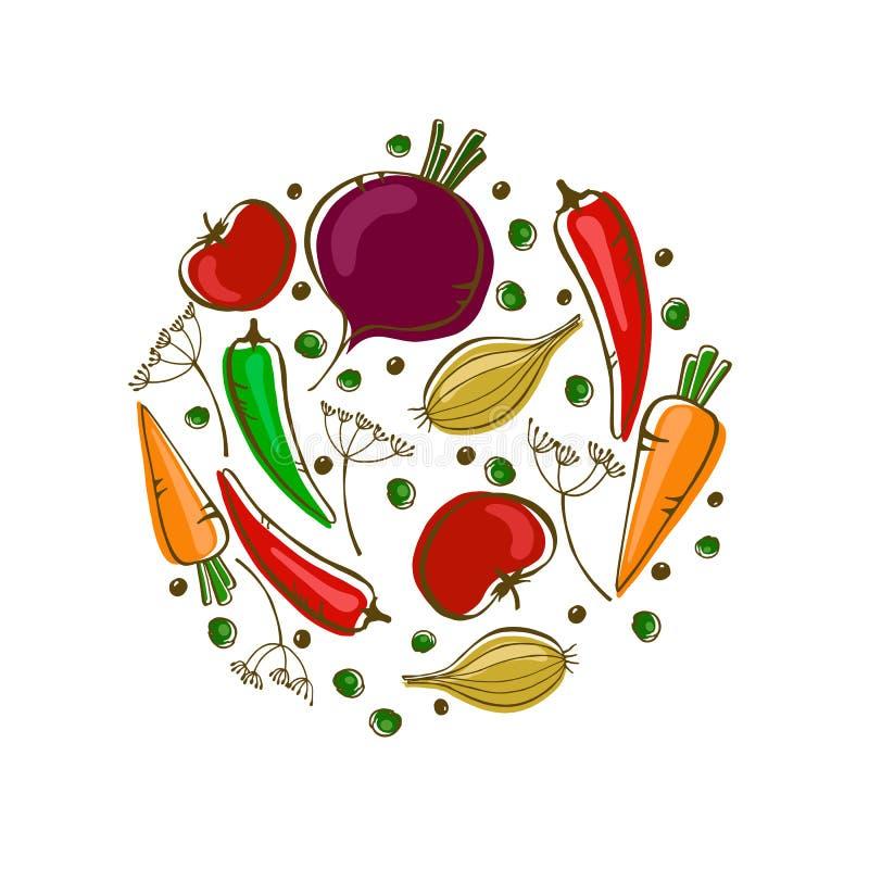 Wektorowy skład z warzywami: marchewka, pomidor, pieprze i cebula, ilustracji