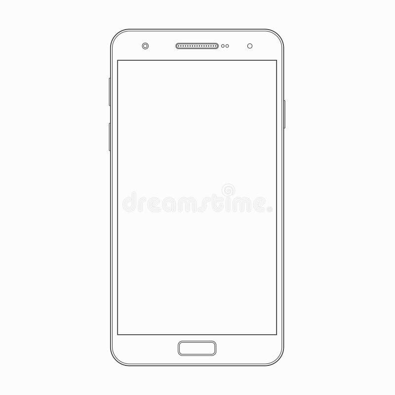 Wektorowy smartphone konturu szablon Telefon ikona ilustracja wektor