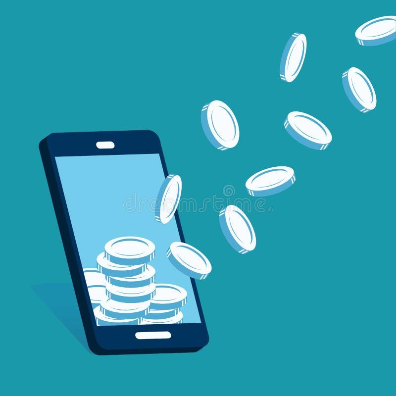 Wektorowy smartphone przyciąga pieniądze monety royalty ilustracja
