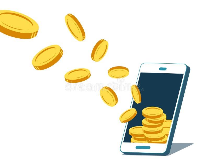 Wektorowy smartphone przyciąga pieniądze monety ilustracja wektor