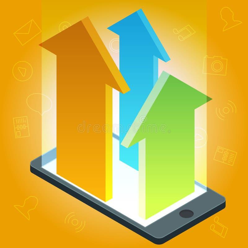 Wektorowy smartphone przyrząd z zastosowanie ikonami i infographic elementami w płaskim projekcie royalty ilustracja