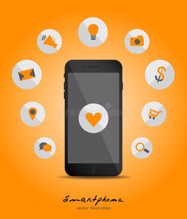 Wektorowy smartphone przyrządu pojęcie z zastosowanie ikonami w mieszkaniu ilustracja wektor