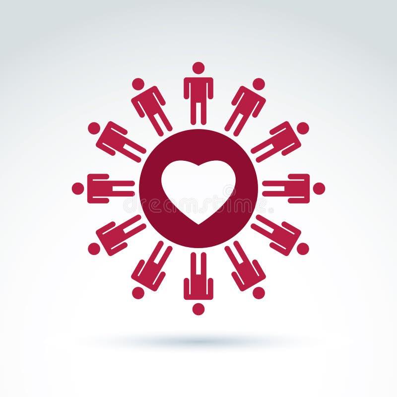 Wektorowy społeczeństwo darowizny symbol, współczucie i miłość, podpisujemy ludzie royalty ilustracja