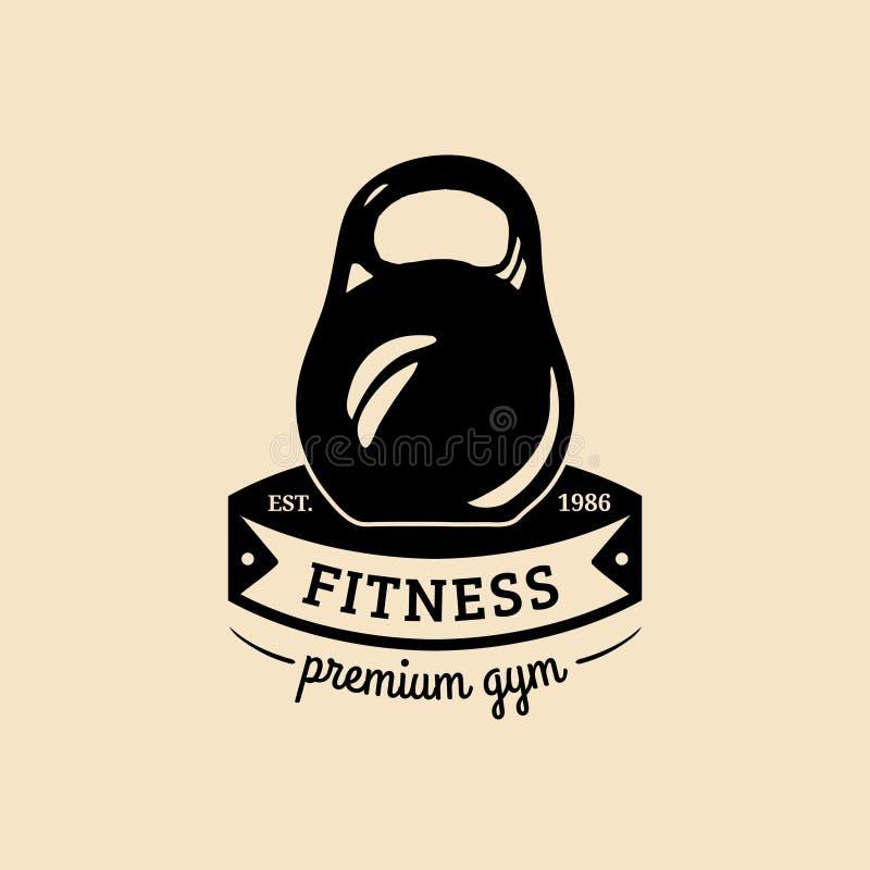 Wektorowy sprawność fizyczna logo Ręka kreślił sportową ilustrację Gym emblemat, odznaka, sporta kompleksu znak, świetlicowa ikon royalty ilustracja