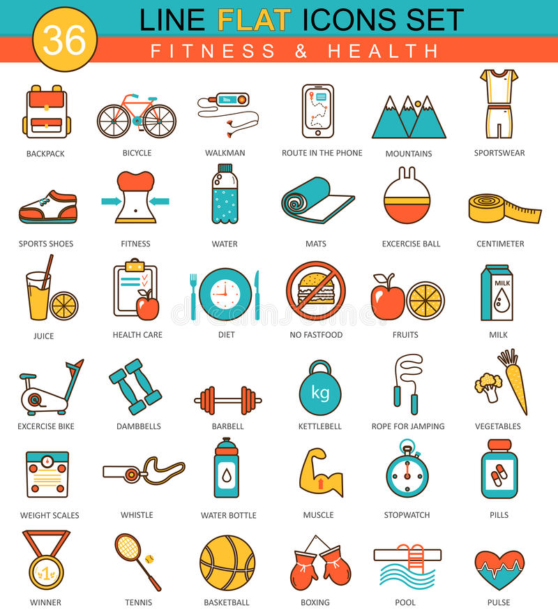 Wektorowy sprawności fizycznej i zdrowie mieszkanie wykłada ikona set Nowożytny eleganckiego stylu projekt dla sieci ilustracji