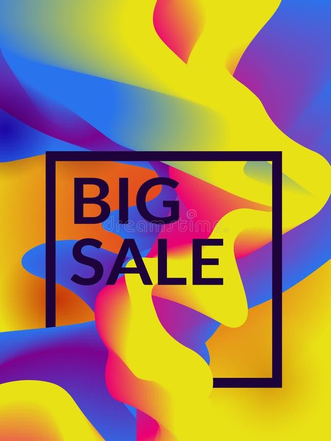 Wektorowy sprzedaż sztandar z kolorowym abstrakcjonistycznym tłem ilustracja wektor