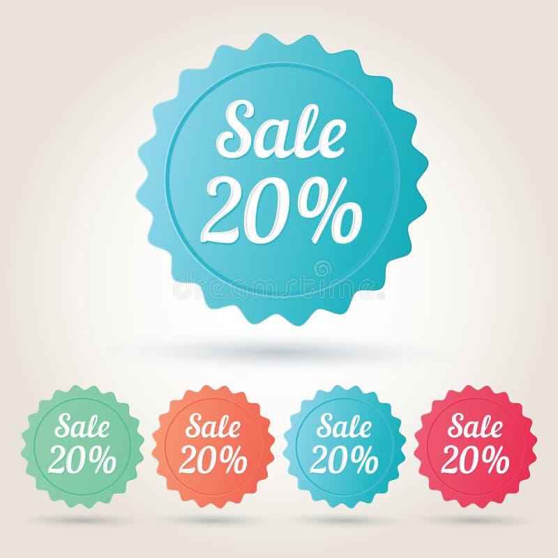 Wektorowy sprzedaży 20% odznaki majcher zdjęcia royalty free