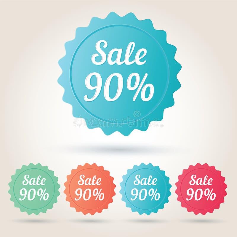 Wektorowy sprzedaży 90% odznaki majcher fotografia royalty free