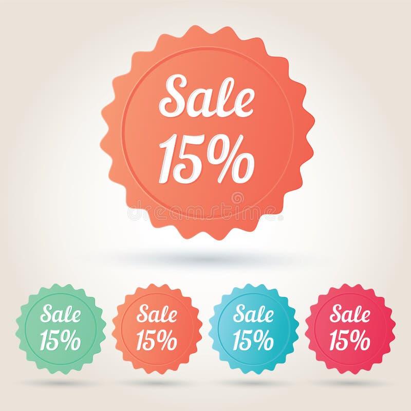 Wektorowy sprzedaży 15% odznaki majcher obraz stock