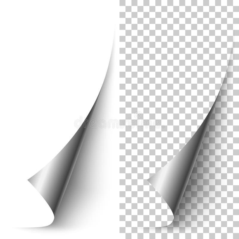 Wektorowy srebnej folii vertical papieru kąt staczający się up zdjęcia stock