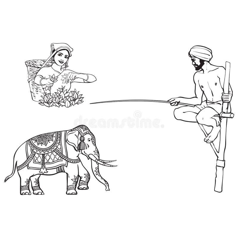 Wektorowy Sri-lanka, ind symbole ustawiający odizolowywającymi ilustracji
