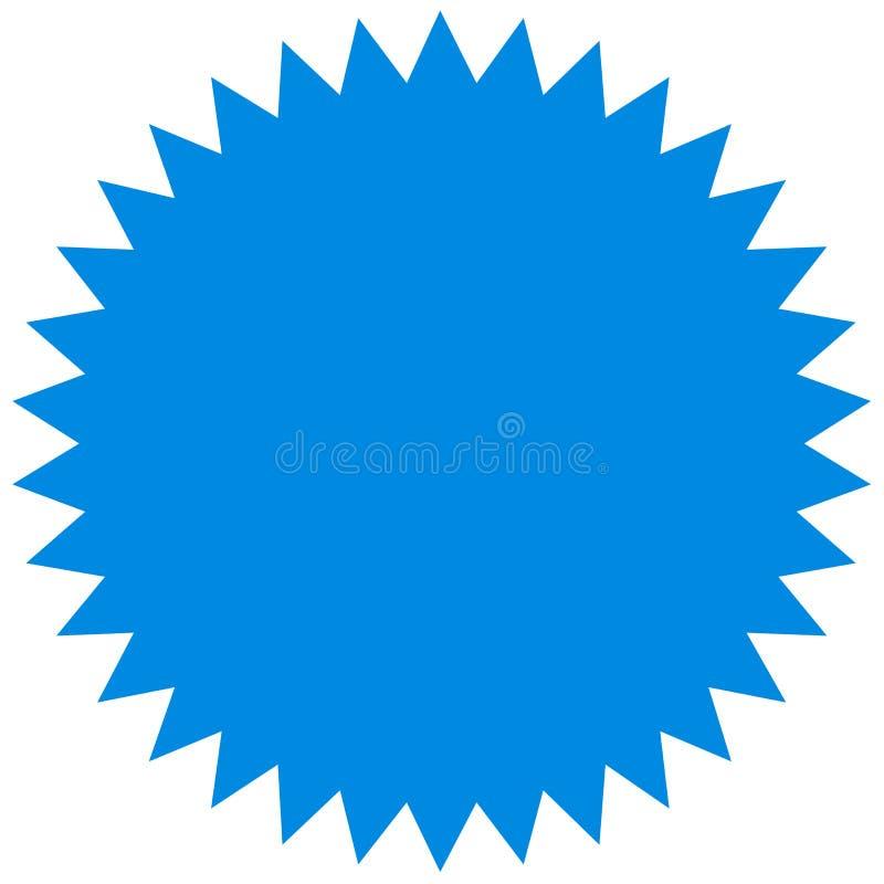 Wektorowy starburst, sunburst odznaka Błękitny kolor Prosty mieszkanie styl Rocznik etykietka, majcher ilustracja wektor