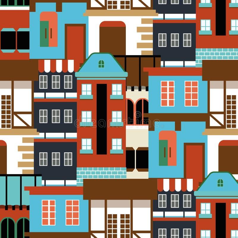 Wektorowy stary domowy bezszwowy wzór Nowożytna cottege panorama miasta Niemcy tło dla twój projekta może używać dla royalty ilustracja