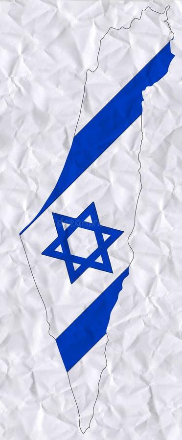 Wektorowy stary zmięty papier z akwarela obrazem Izrael mapa i flaga royalty ilustracja
